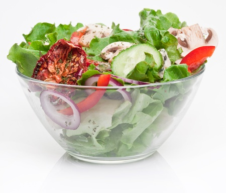 lowfat: Salad with dried tomatoes, champignon and onion. Stock Photo