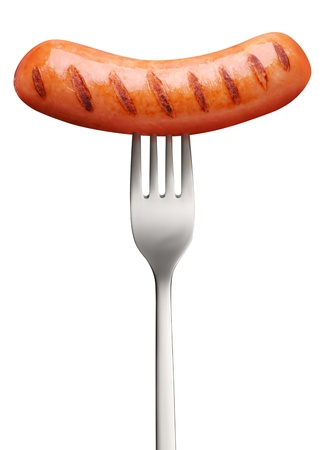 Sausage, prick with a fork. Object on a white background and contains the path to cut. photo