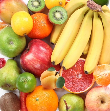 entire: Group of fruits takes up the entire frame. In the form of a square. Stock Photo