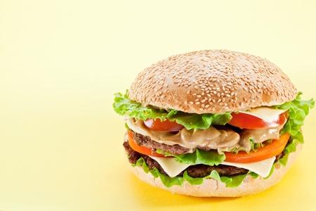 hamburger on a yellow background photo