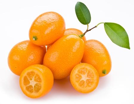 Kumquat citrus on a white background photo