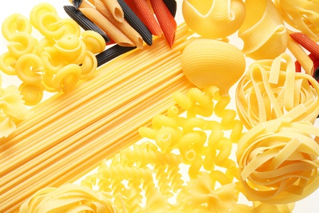 Close up shoot of different types of  raw pasta. Stock Photo - 12083714