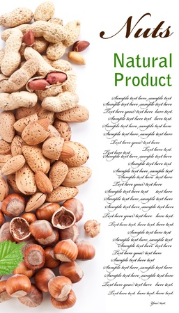 Group mixed nuts. Space for text on the right. photo