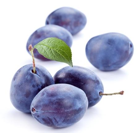purple leaf plum: Plums isolated on white background