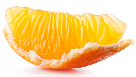 Tangerine slice on white background. photo