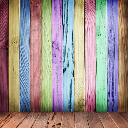 Multicolor wall of wooden planks. Vintage style. photo