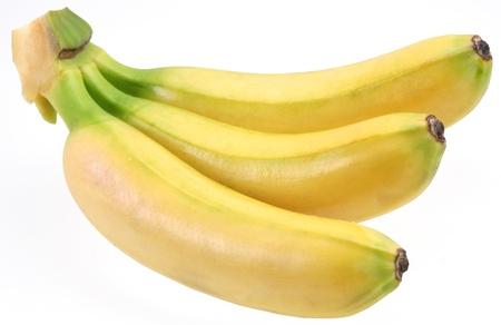 Three bananas isolated on white background photo