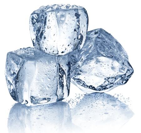 ice cold: Three ice cubes on white background  Stock Photo