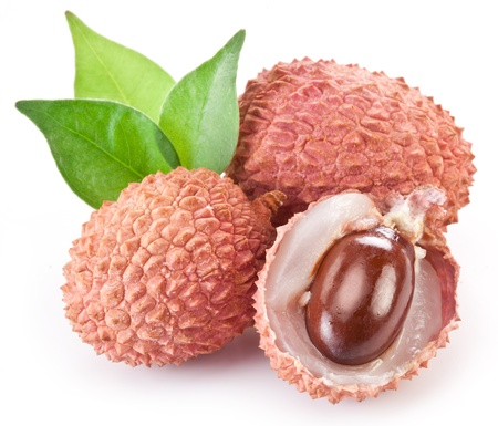 lychee: Lychee with leaves on a white background