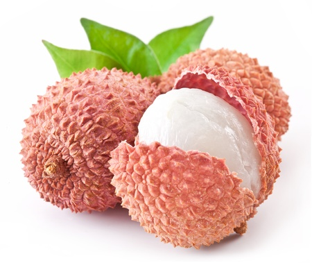Lychee with leaves on a white background