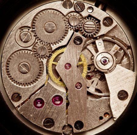 Mechanical clockwork  Close up shot  photo