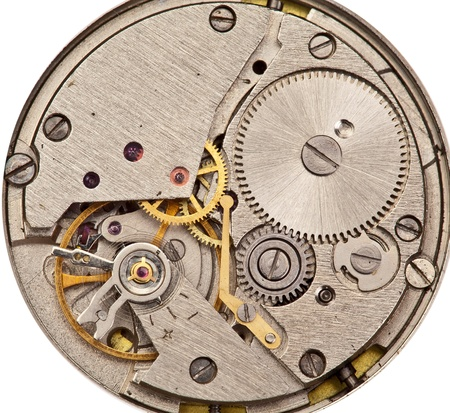 timepiece: Mechanical clockwork  Close up shot