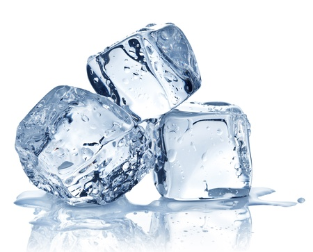 ice crystals: Three ice cubes on white background  Stock Photo