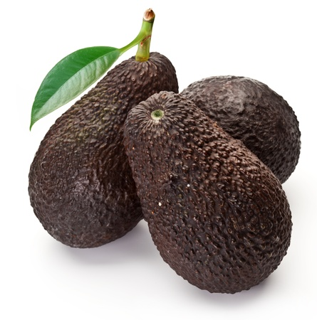 hass: Avocados with leaves on a white background  Stock Photo