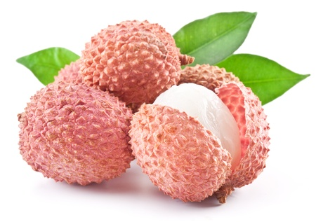 litchee: Lychee with leaves on a white background