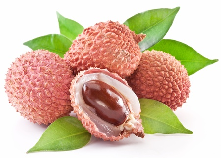 leechee: Lychee with leaves on a white background