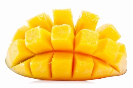 mango: Slice of mango na białym tle Zdjęcie Seryjne