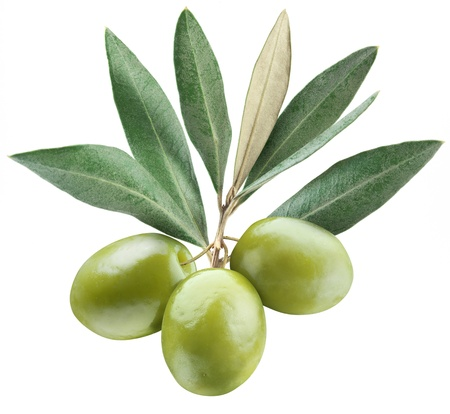 Olives with leaves on a white background   Stock Photo