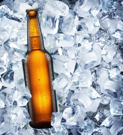 Bottle of beer is in ice photo