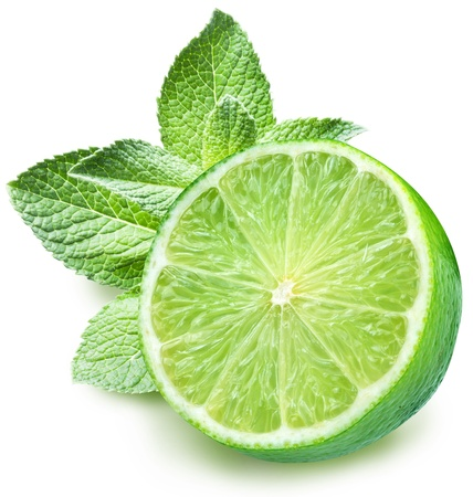 organic lemon: Lime and mint on a white background