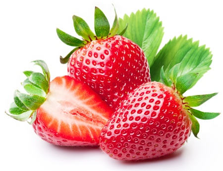fresh fruits: Strawberries with leaves  Isolated on a white background