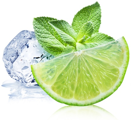 Lime, mint and ice cube on a white background
