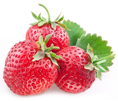 Appetizing Strawberry with leaves  Isolated on a white background  photo