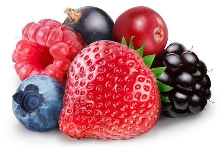 arandanos rojos: Colección de frutas del bosque sobre un fondo blanco. El archivo contiene la ruta para cortar.