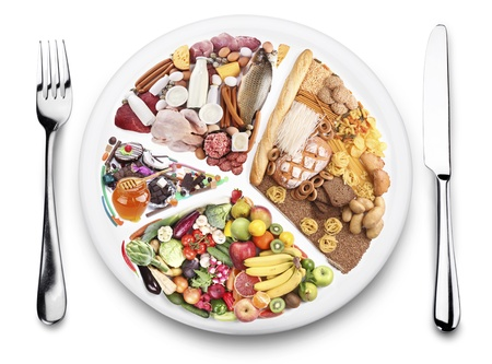 balanza: Productos alimenticios de equilibrio en un plato. Fondo blanco