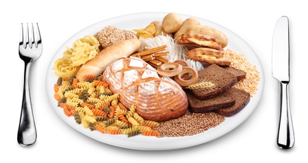 Bakery products on a plate. White background. photo