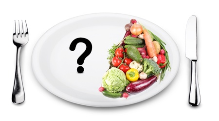 health questions: In the first half of the plate vegetables. On the other half of the plate - a question mark.