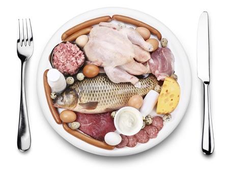 carne de pollo: La carne cruda y productos l�cteos en un plato. Vista desde arriba, sobre un fondo blanco. Foto de archivo