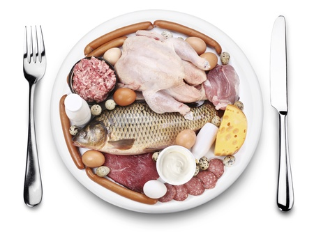 fish meat: Raw meat and dairy products on a plate. View from above, on a white background. Stock Photo