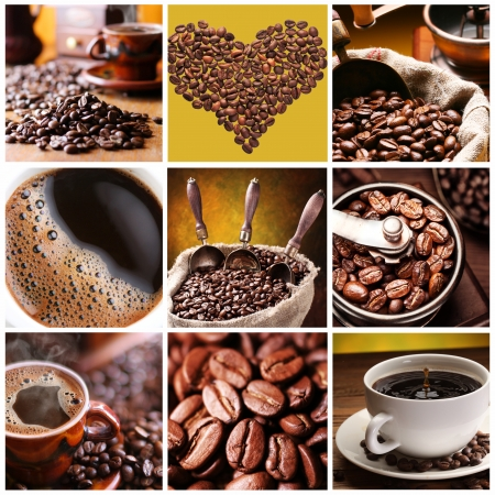 Collection of Coffee. Nine images of different types of coffee and accessories. Stock Photo