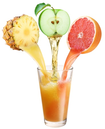 fruit mix: Juice flowing from fruits into the glass  File contains the path to cut