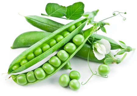 green pea: Pods of green peas with leaves on white background  Stock Photo