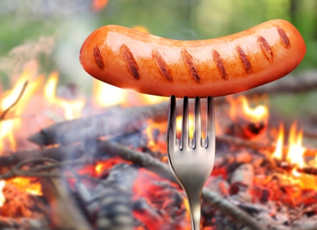 bratwurst: Sausage on a fork  In the background a bonfire in the forest