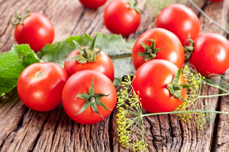 horseradish: Tomatoes, cooked with herbs for the preservation on the old wooden table. Stock Photo