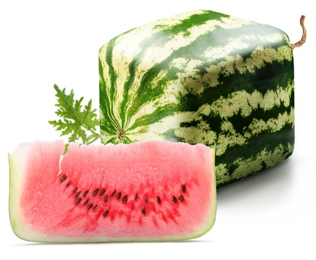 red square: Cubic watermelon with slice on a white background.