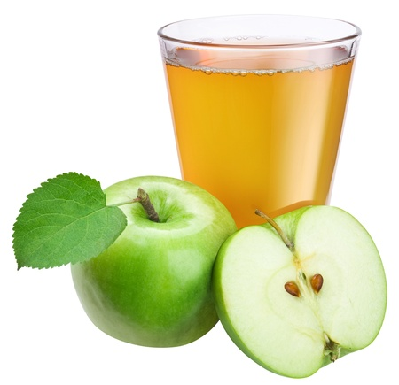 Apple juice with ripe apple on a white background. photo
