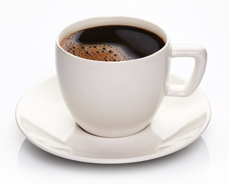 decaf: Coffee cup and saucer on a white background. Stock Photo
