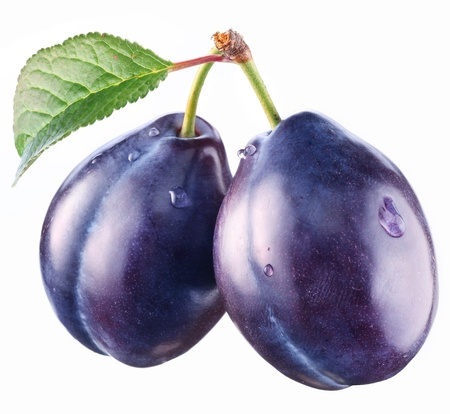 purple leaf plum: Two plums with a leaf on a white background. Stock Photo