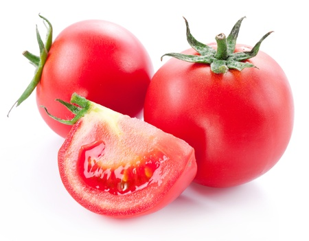 tomato slice: Tomatoes on a white background Stock Photo