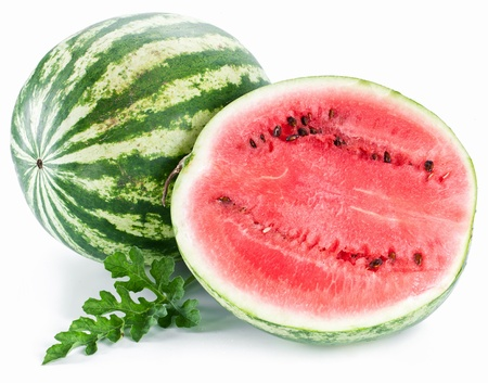 water melon: Watermelon with a slice and leaves on a white background.
