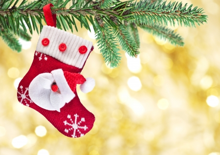 Christmas sock with Santa Claus on on fir branch