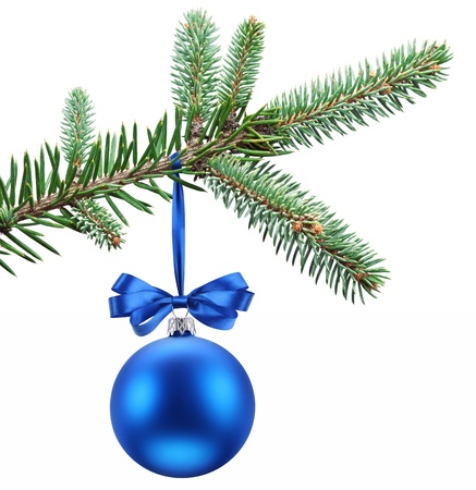 christmas baubles: Christmas ball on fir branches  Isolated on white  Stock Photo
