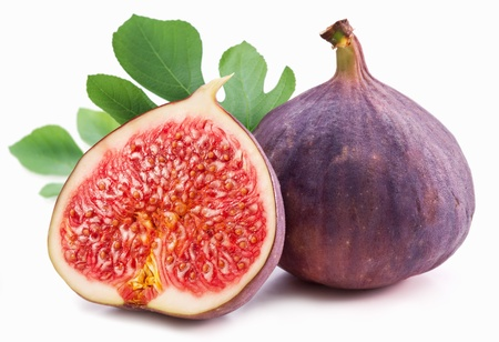 Figs with leaves on a white background  photo