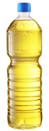Cooking oil in a plastic bottle on a white background  File contains a path to cut  photo