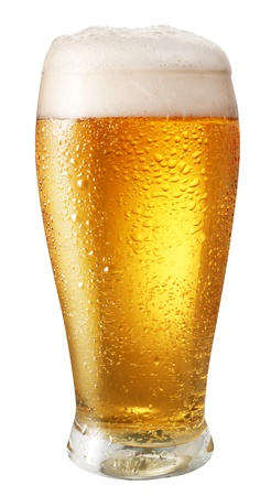 Glass of light beer isolated on a white background  File contains path to cut