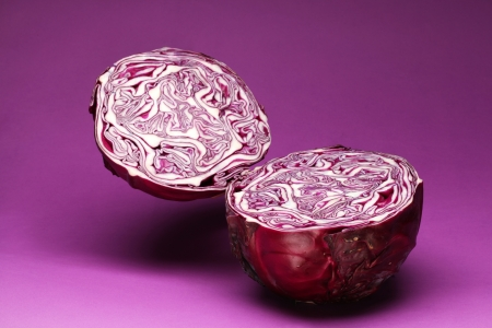 red cabbage: Purple cabbage on a violet background